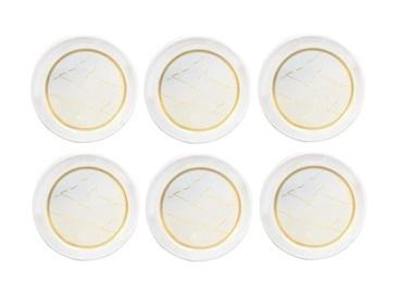 Akayev Beyaz Mermer 6'Lı Çay Tabağı Beyaz